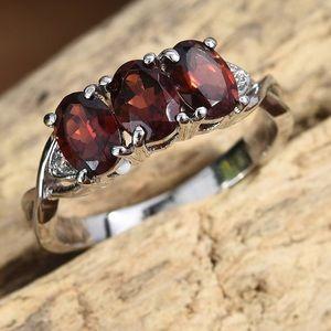 Garnet and White Topaz ring